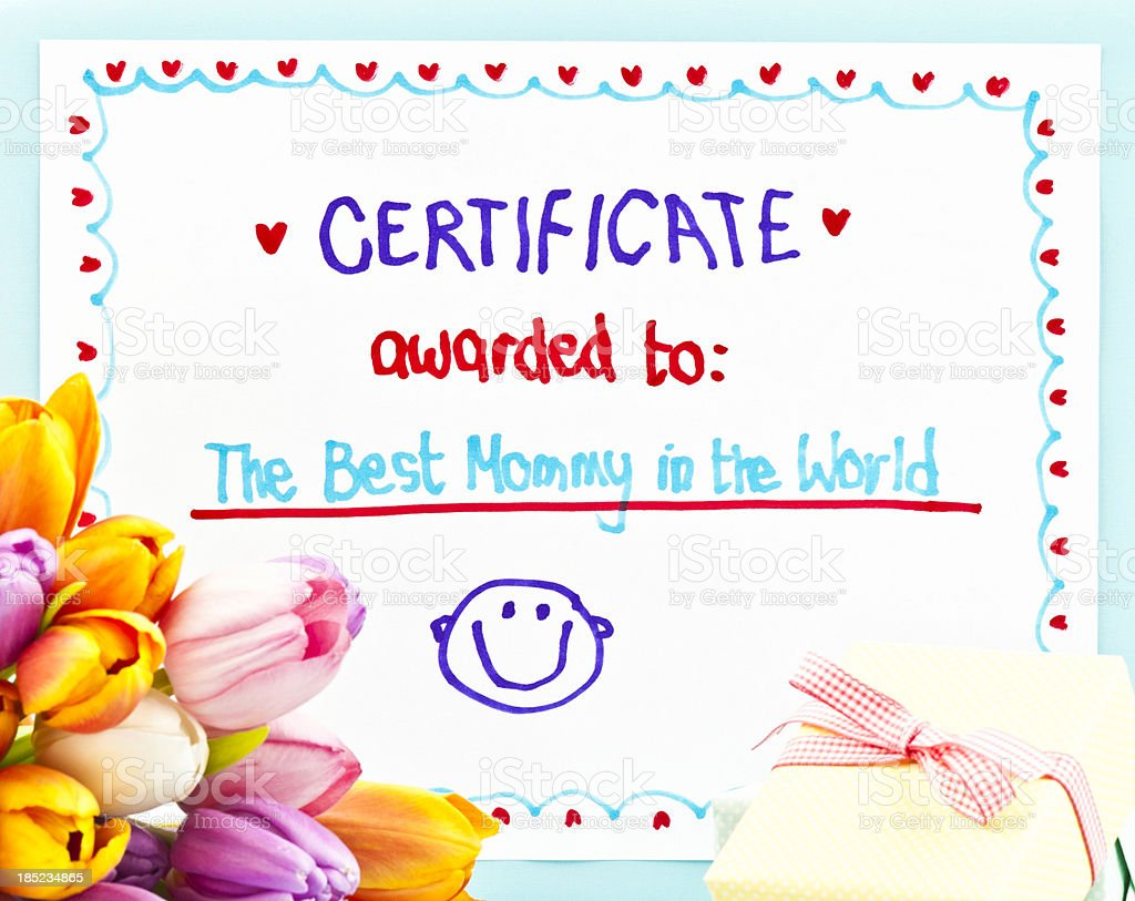 Child's Mother's Day Certificate with Flowers and Gift royalty-free stock photo
