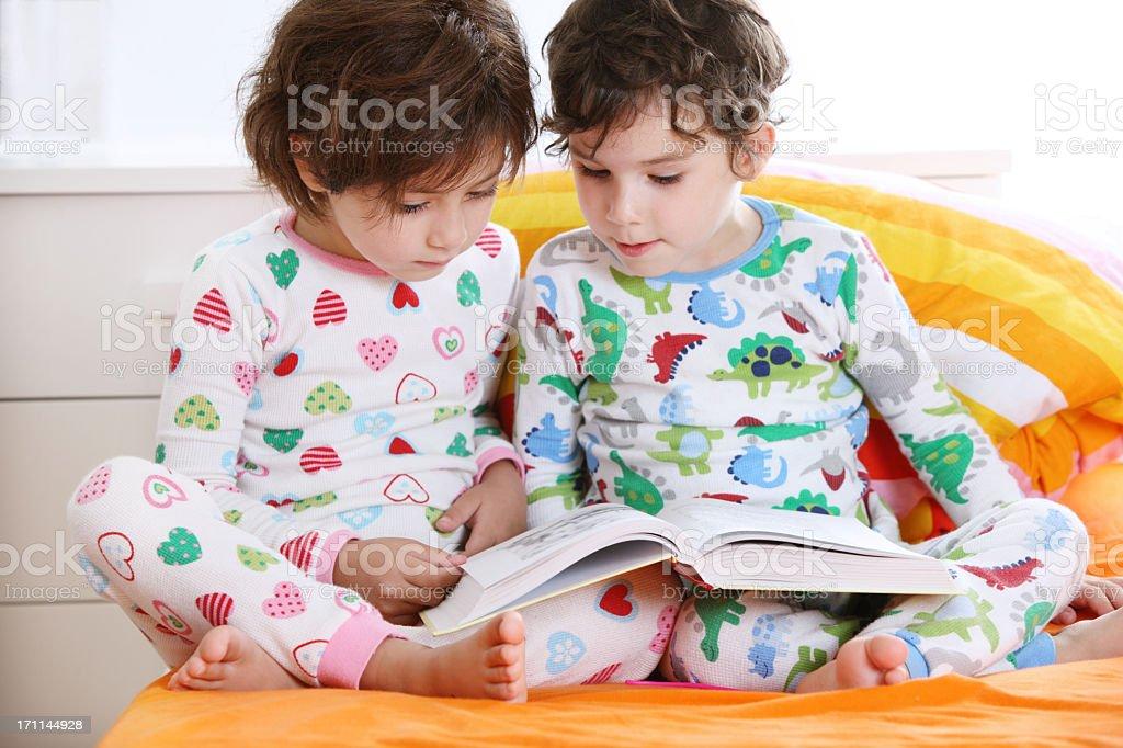 Child's  reading stock photo