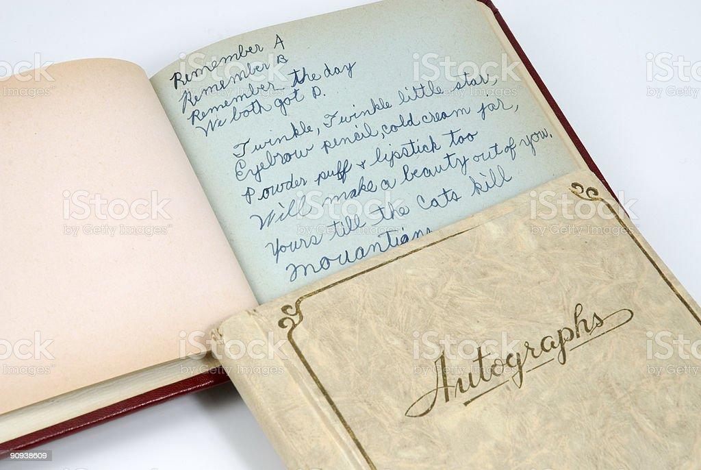 Child's Retro Autograph Book stock photo