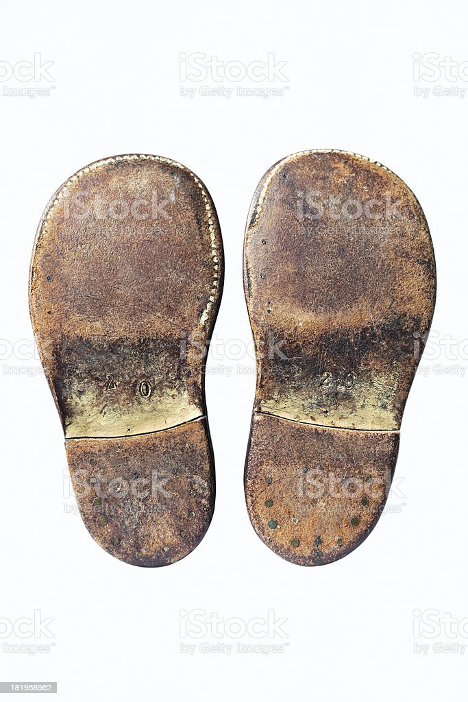 Child's shoes from 1940's royalty-free stock photo