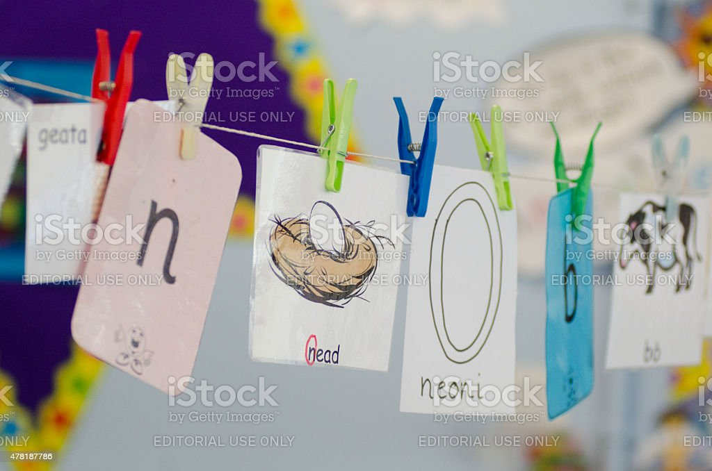 Child's signs in Gaelic education featuring the letter N stock photo