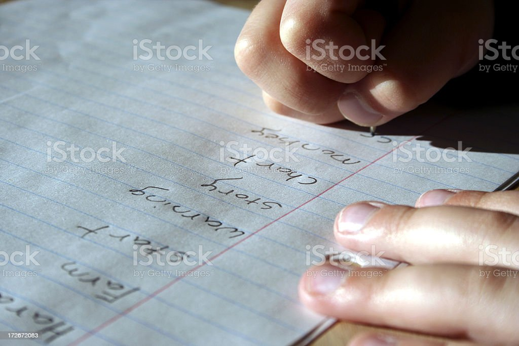 Childs spelling words royalty-free stock photo