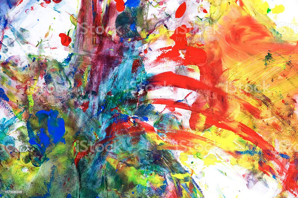 Child's Tempera Paint on Paper stock photo