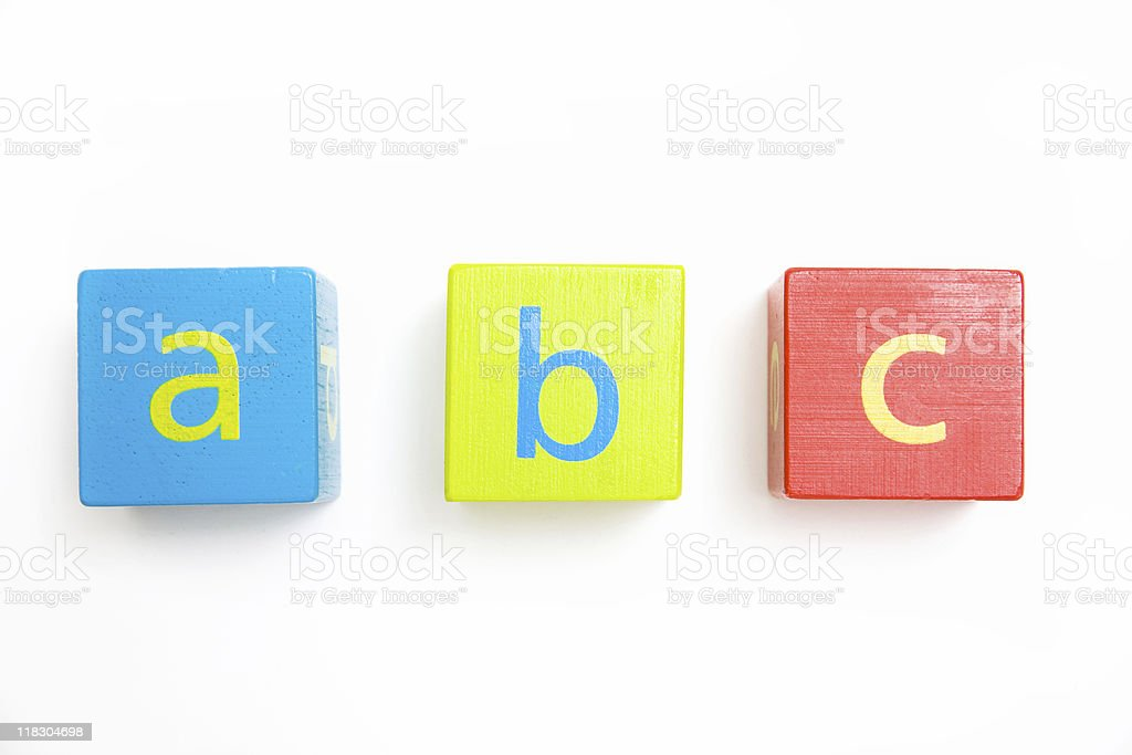 child's toy blocks starting the alphabet stock photo