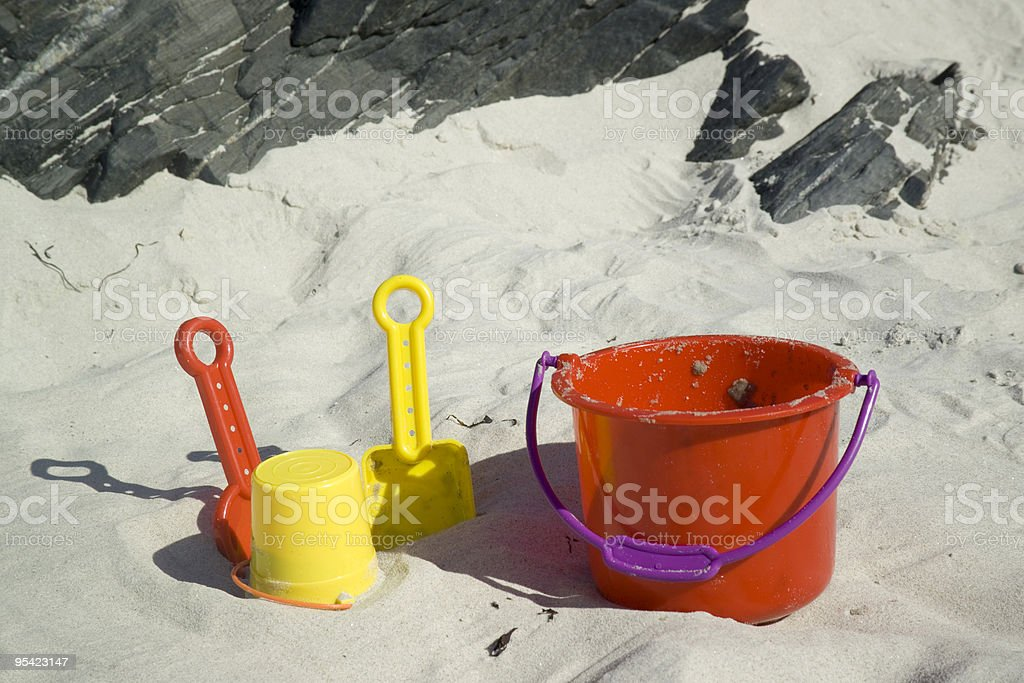 Childs toy bucket and toys on beach close up royalty-free stock photo