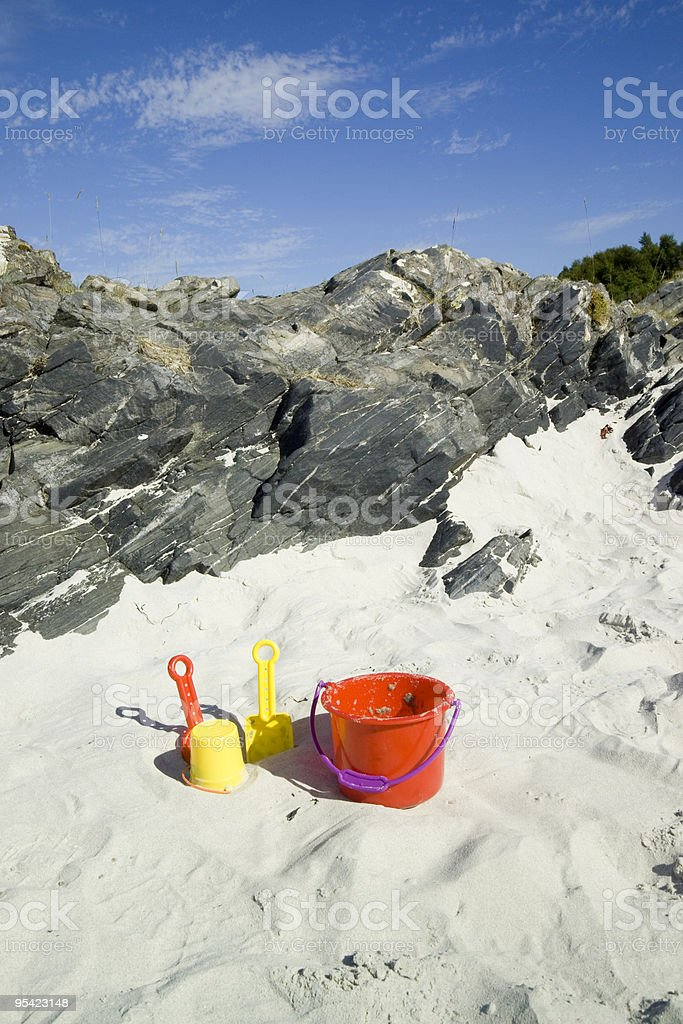Childs toy bucket and toys on beach stock photo