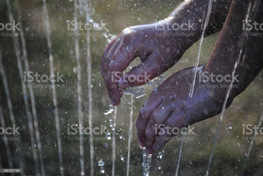 Child's Wet Hands stock photo