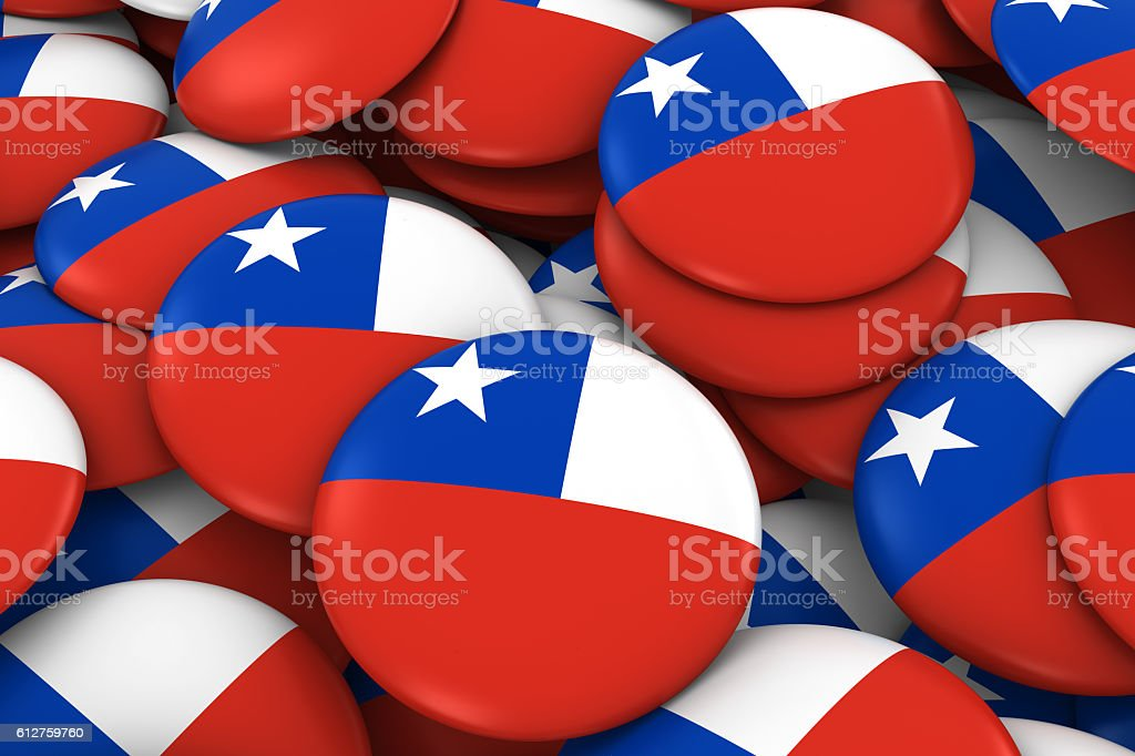 Chile Badges Background - Pile of Chilean Flag Buttons stock photo