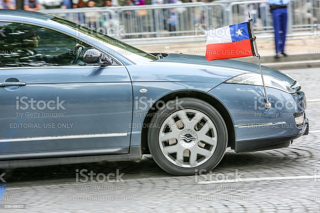 Chile Diplomatic car during Military parade stock photo