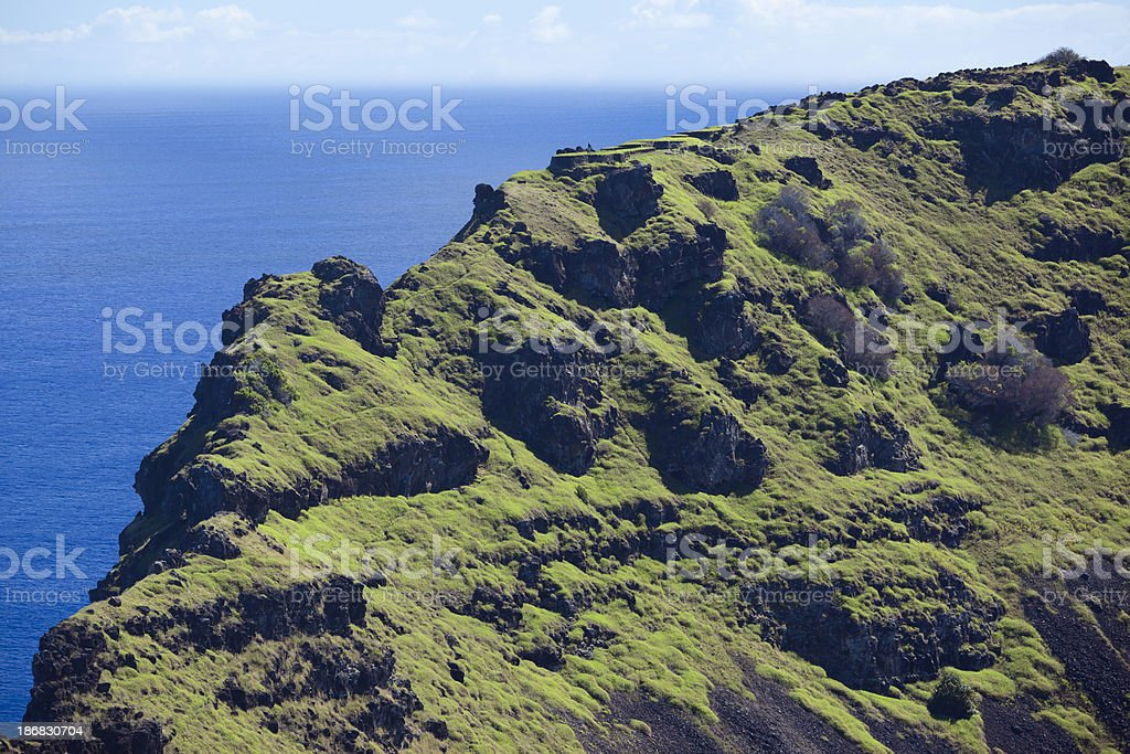 Chile Easter Island volcanic crater Rano Kao stock photo