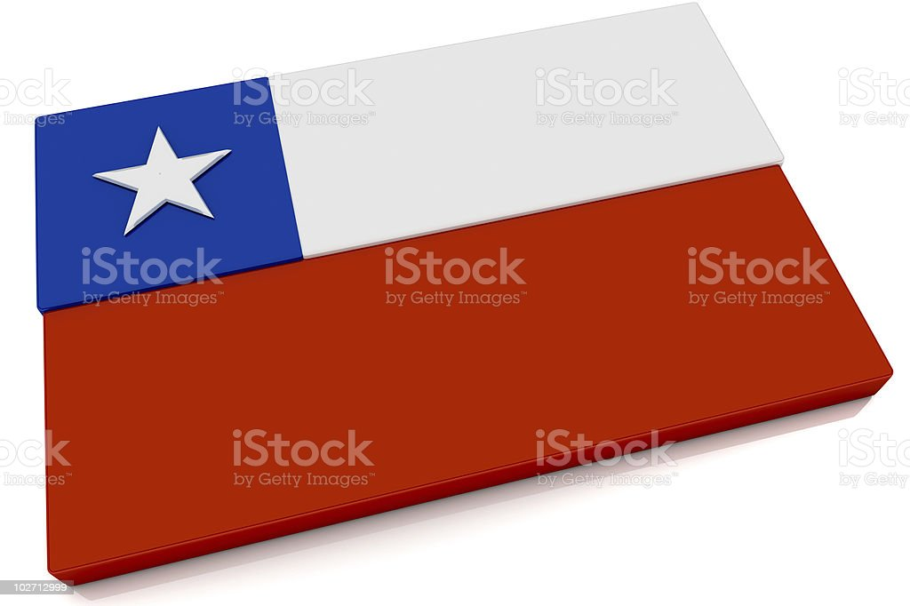 3D Chile Flag Button stock photo
