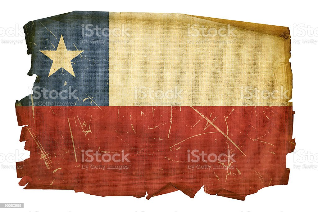 Chile Flag old, isolated on white background. stock photo