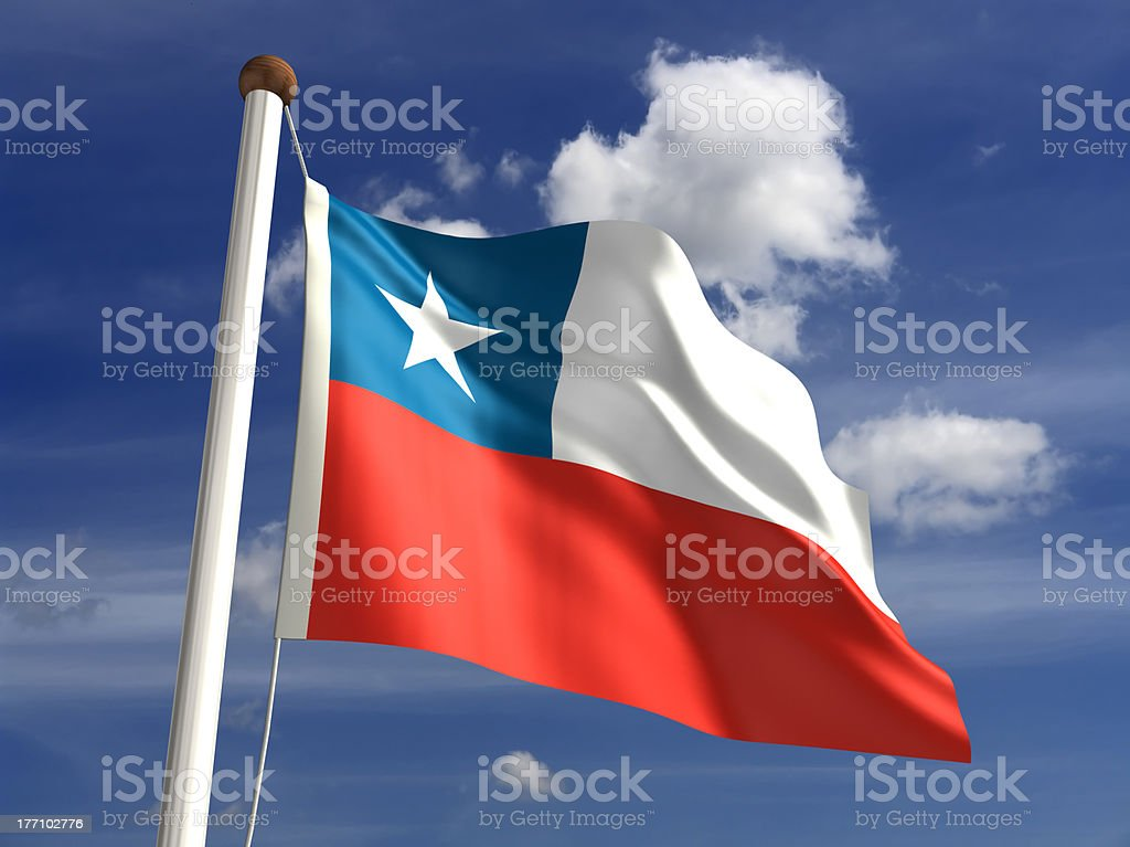Chile flag (with clipping path) stock photo