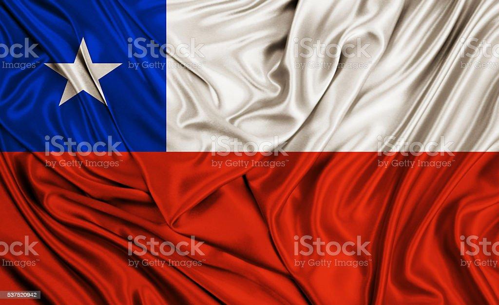 Chile flag - silk texture stock photo