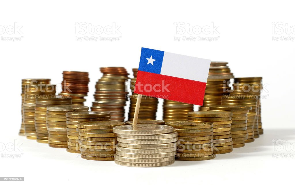Chile flag waving with stack of money coins stock photo