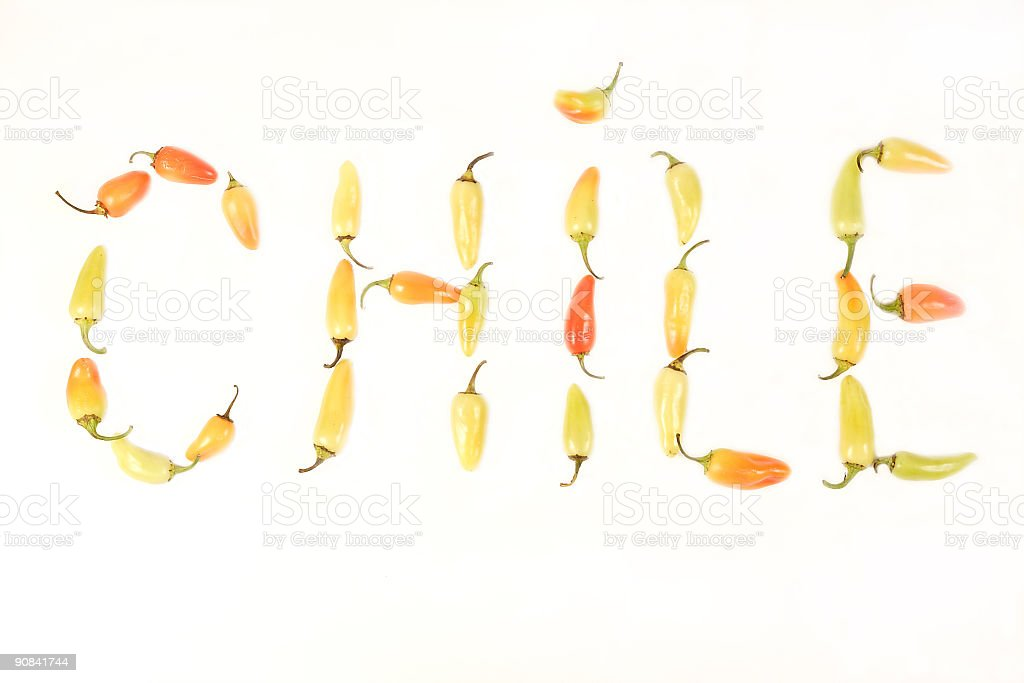 Chile Peppers spelling out C H I L E royalty-free stock photo