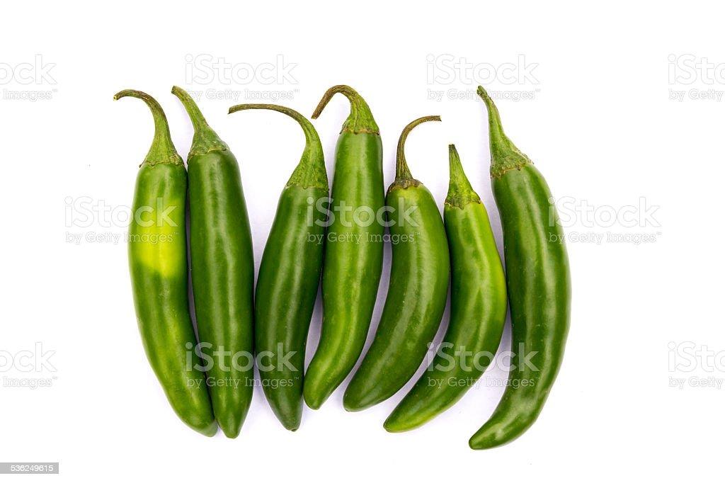 Chile Serrano hot chili pepper stock photo