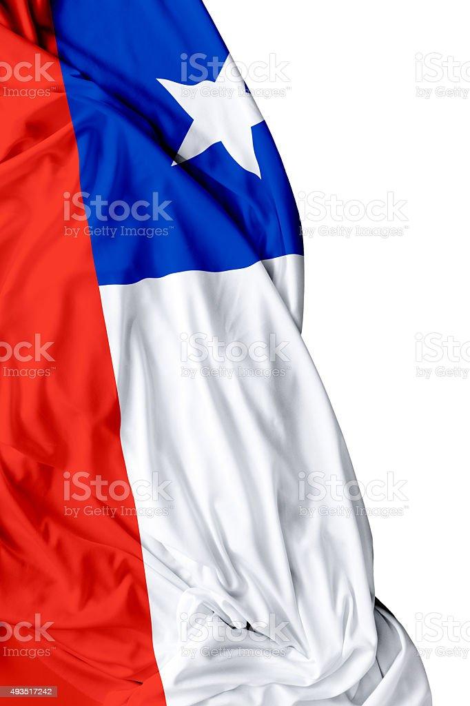Chile waving flag on white background stock photo