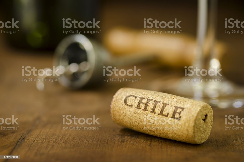 Chile Wine Cork Horizontal stock photo