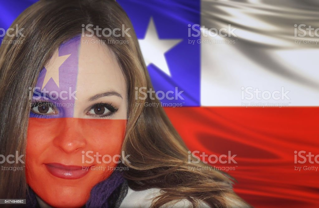 Chilean fan patriot stock photo