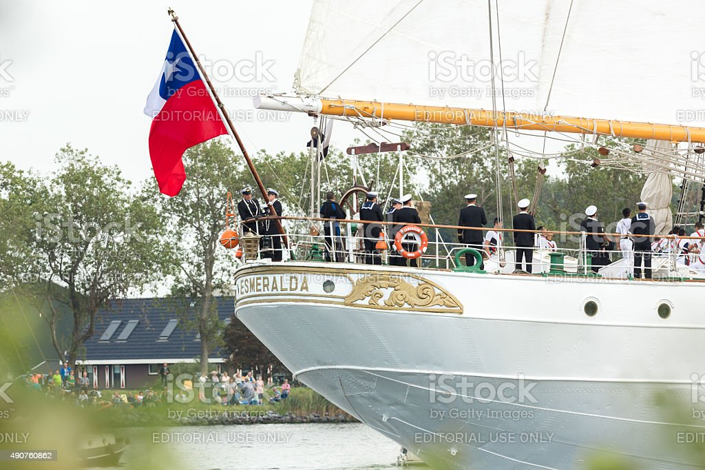 Chilean flag at the stern of the tall ship Esmeralda stock photo