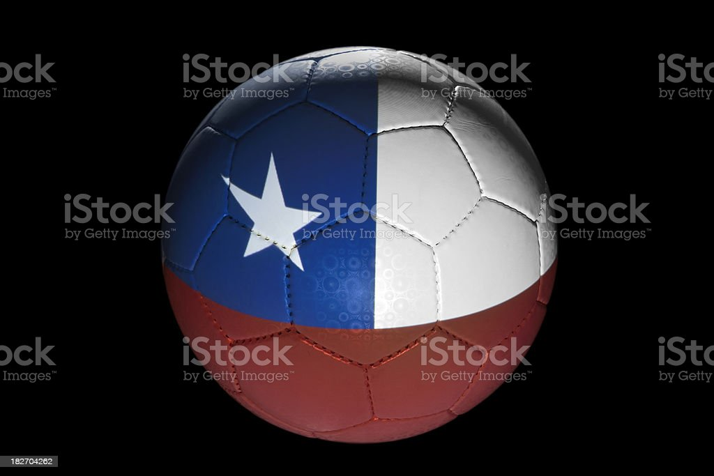 Chilean flag on soccer ball royalty-free stock photo