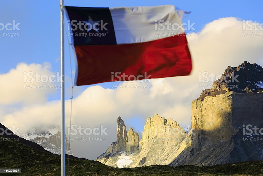 Chilean flag over Torrer del Paine - Chile, South America royalty-free stock photo