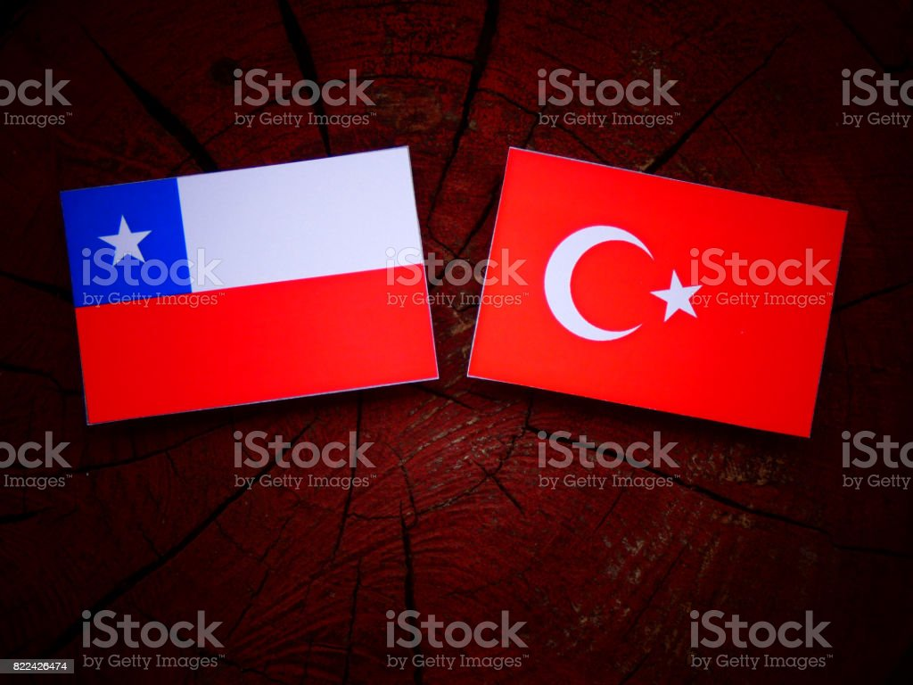 Chilean flag with Turkish flag on a tree stump isolated stock photo