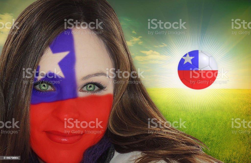 Chilean football fan stock photo