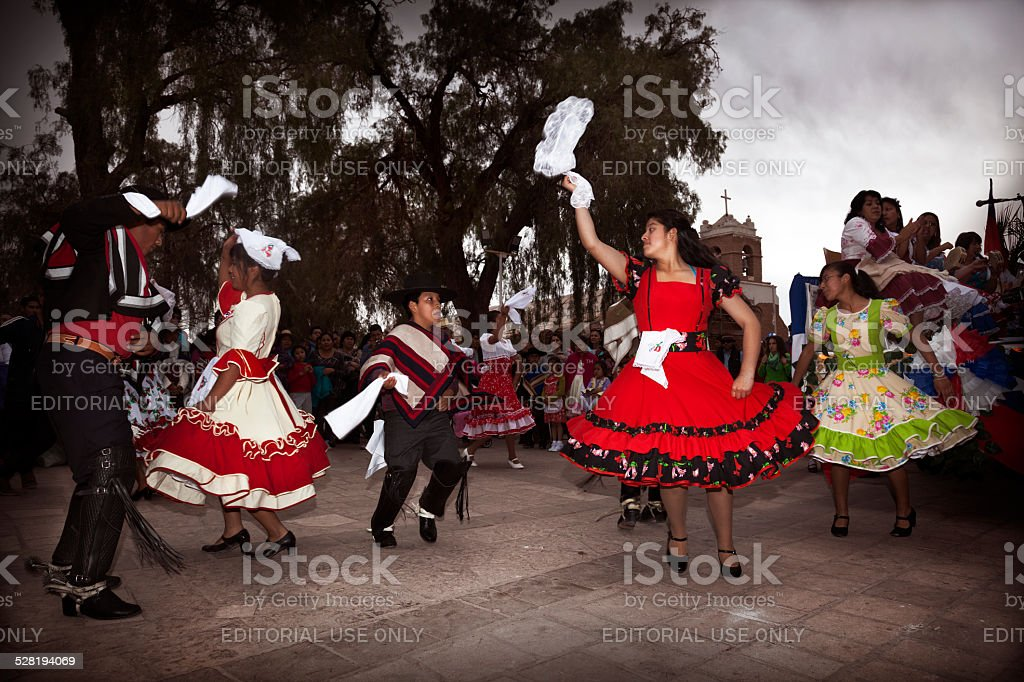 Chilean typical dancers stock photo