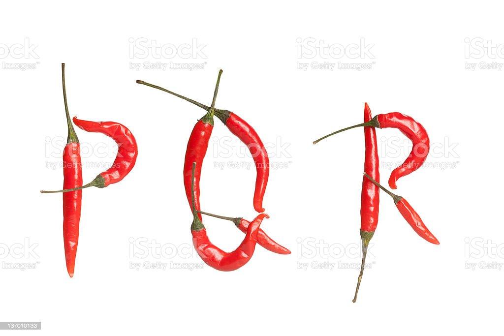 Chili alphabet stock photo