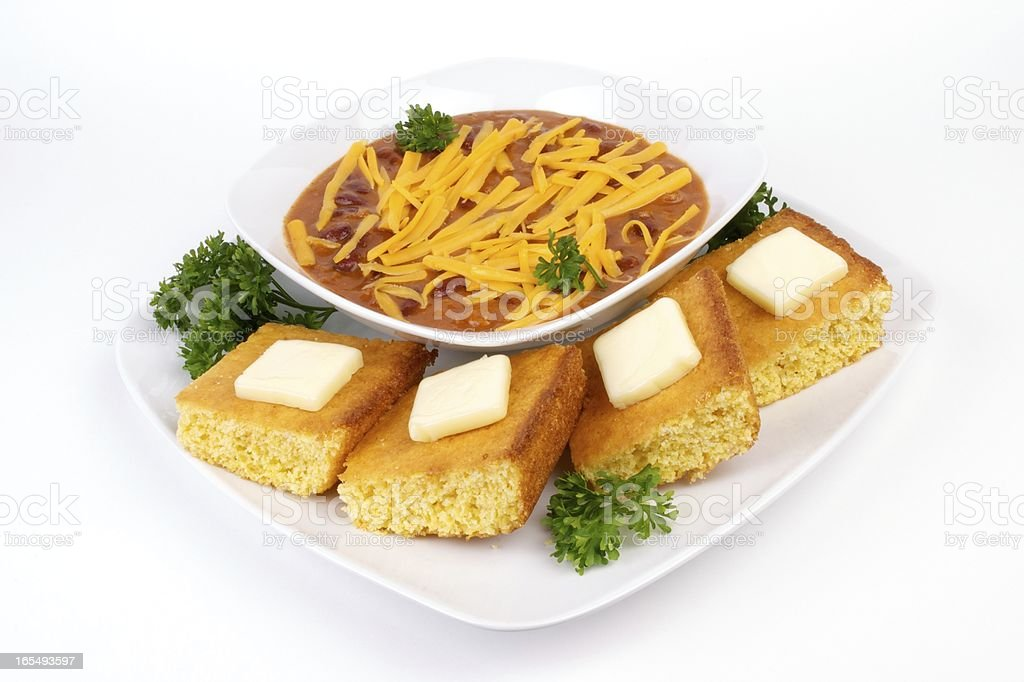 Chili and Cornbread royalty-free stock photo