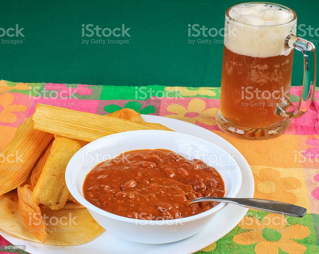 Chili and Tamales with Beer stock photo