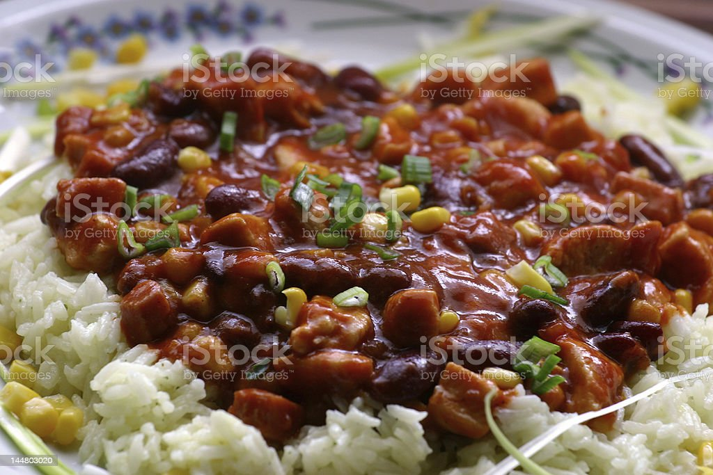 Chili beans on a plate stock photo