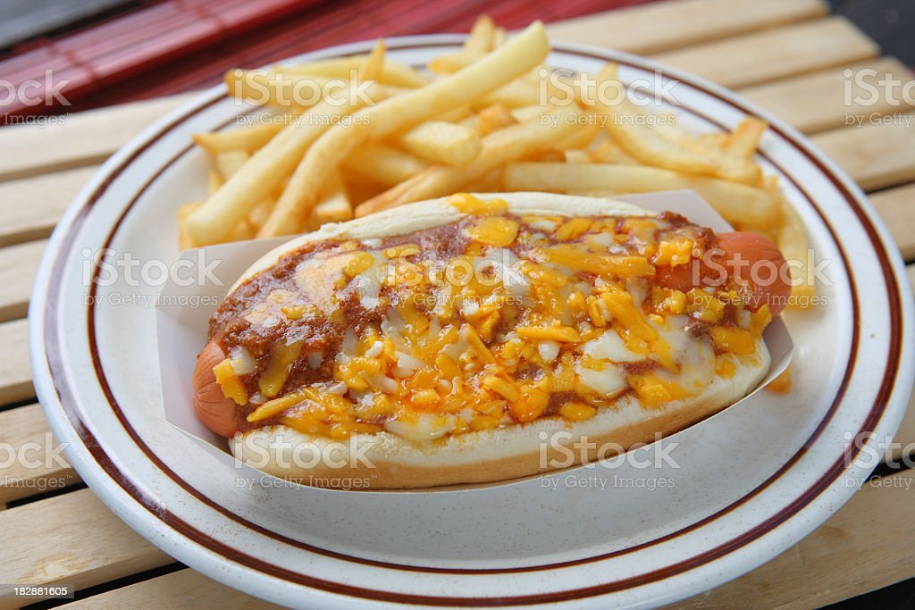 chili cheese dog & fries stock photo