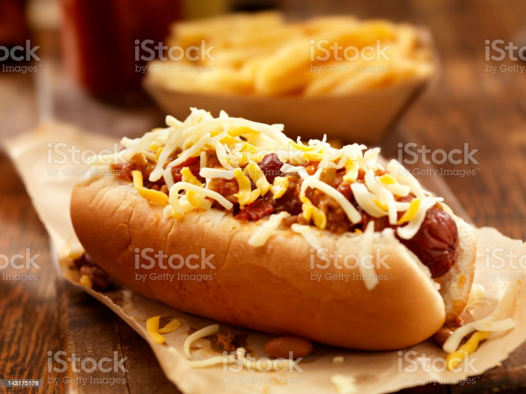 Chili Cheese Dog stock photo