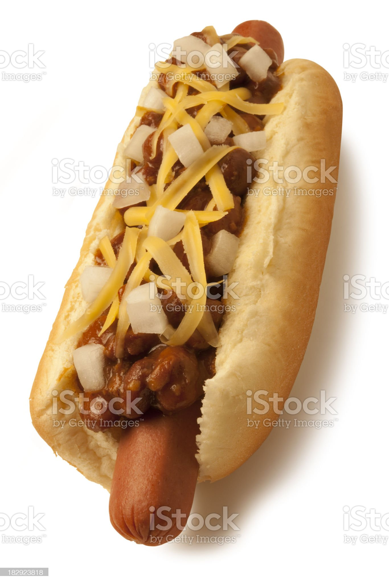 Chili Cheese Dog with path royalty-free stock photo