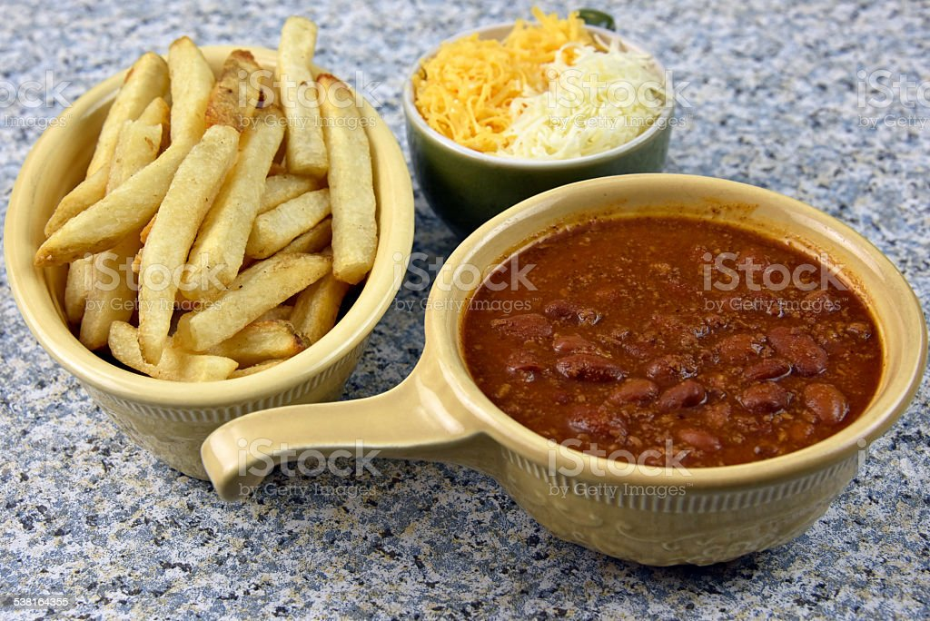 Chili Cheese Fries Meal royalty-free stock photo