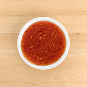 Chili chicken sauce portion in a small bowl