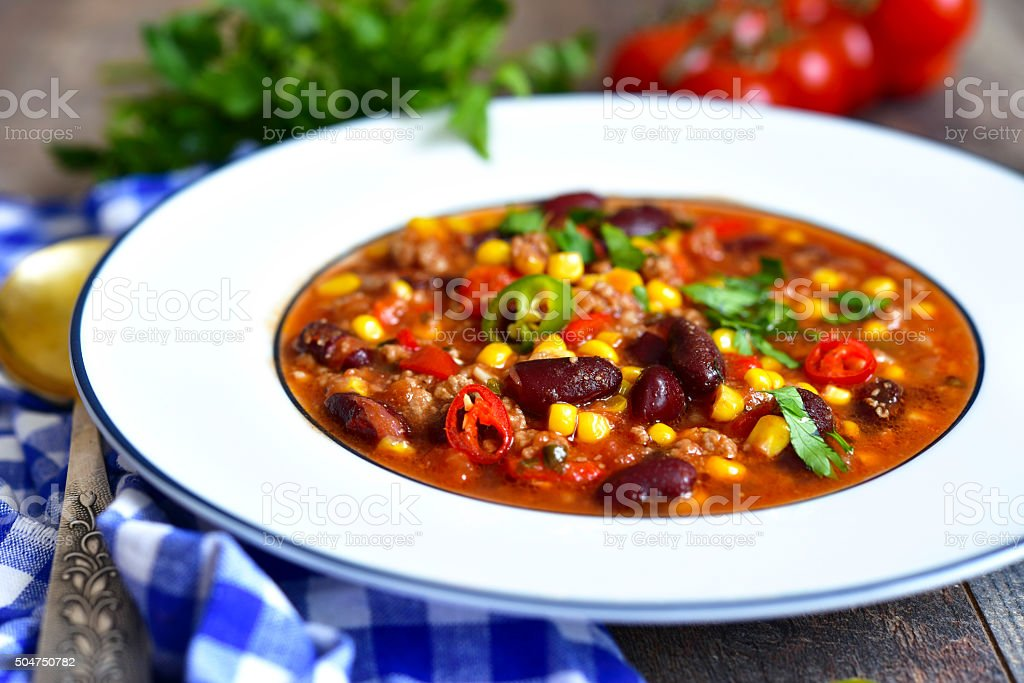 Chili con carne - traditional dish of mexican cuisine. stock photo