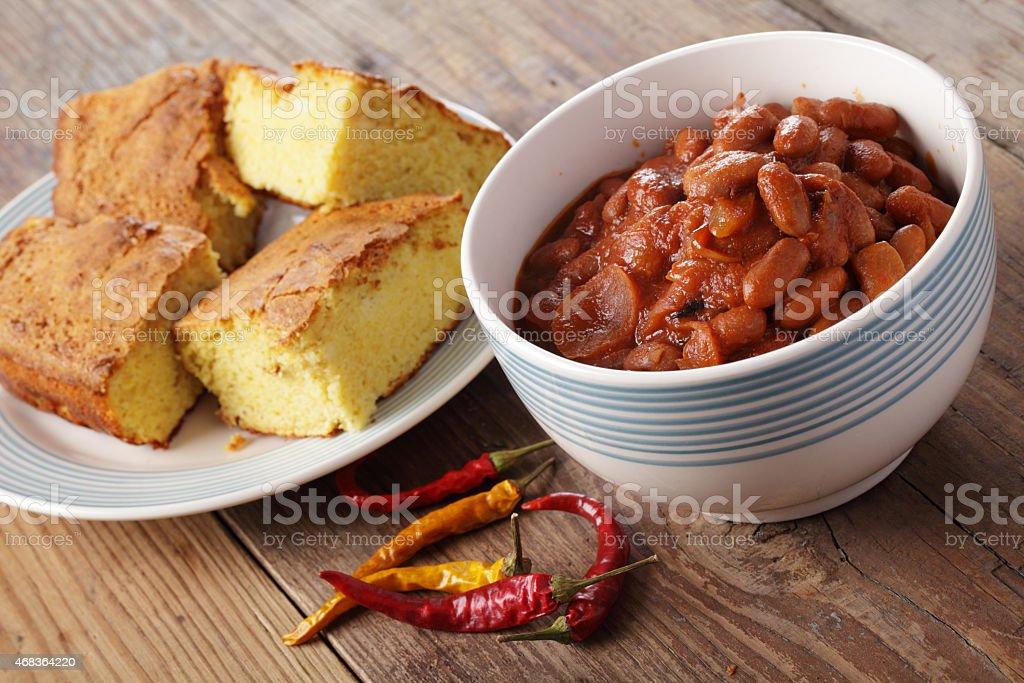 Chili dish with corn bread stock photo