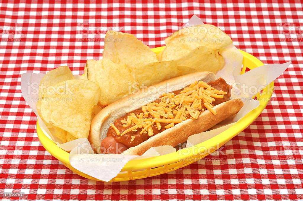 Chili Dog, Cheese and Potato Chips royalty-free stock photo