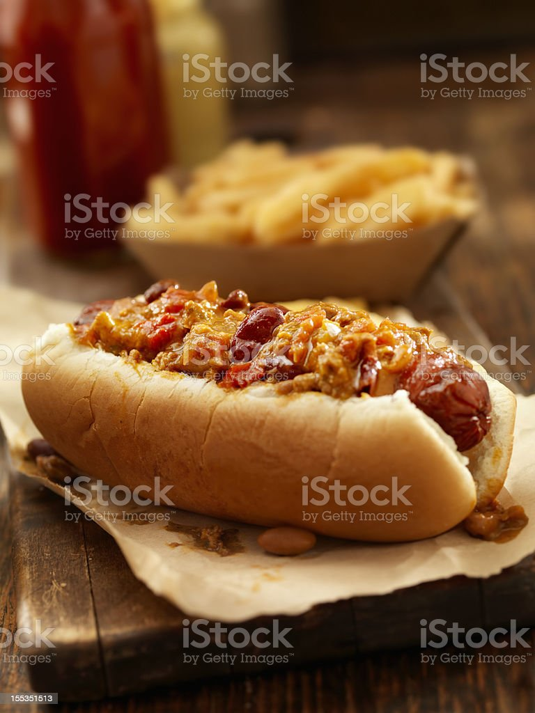 Chili  Dog with a Basket of Fries stock photo
