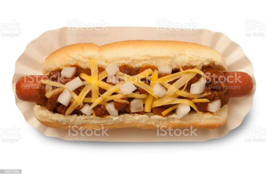 Chili Dog with Path royalty-free stock photo