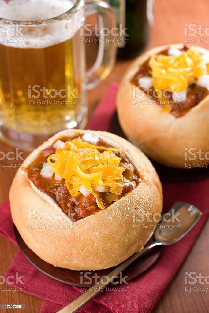 Chili in Bread Bowls stock photo