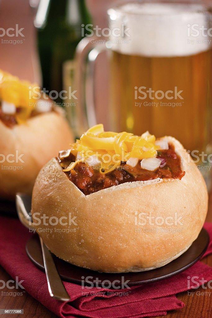Chili in Sourdough Bowls stock photo