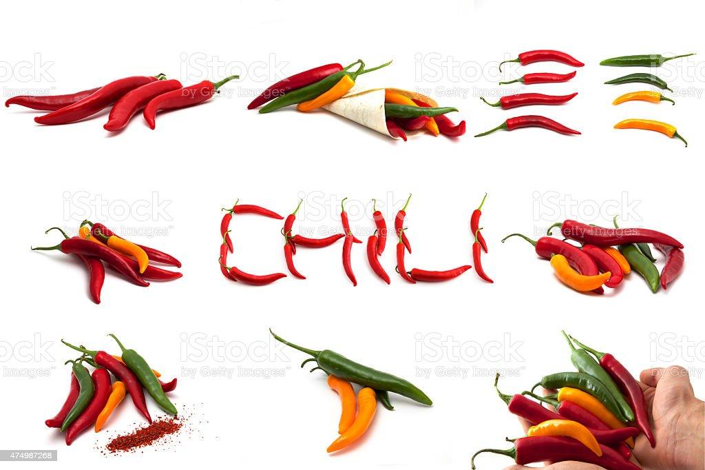 Chili Mix Collage stock photo