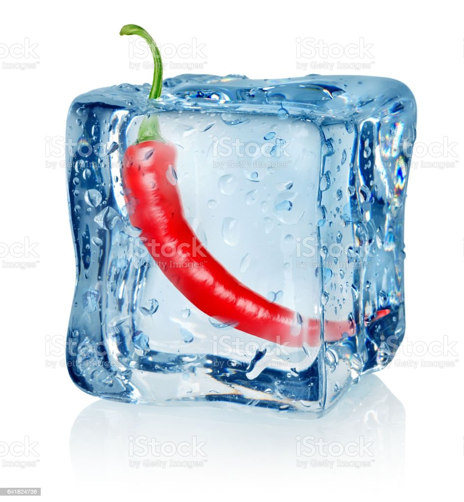 Chili pepper in ice cube stock photo