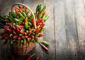 Chili peppers in the basket