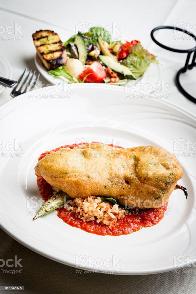 Chili Relleno and Salad stock photo